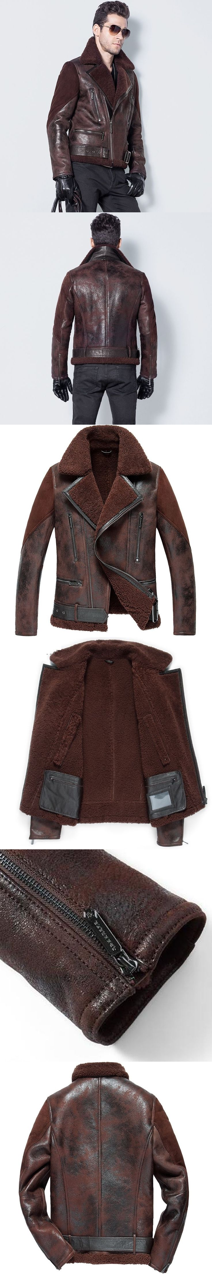 Men's Lamb Fur Jacket Double-Face Fur Coat Sheep Fur Leather Jacket Fashion Slim Short Casual Jacket Turn-down Collar   GSJ118