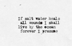 if salt water heals all wounds I shall live by the ocean forever I presume
