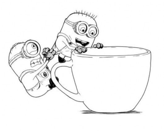 Minions On The Cup Coloring Pages Free