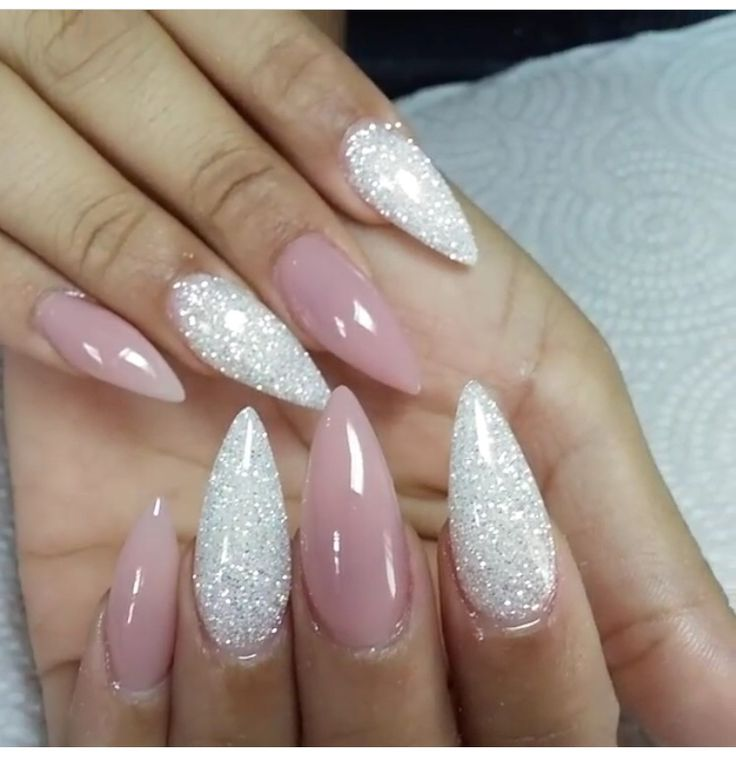 PinkishNude gel Stilettos and glitter acrylics