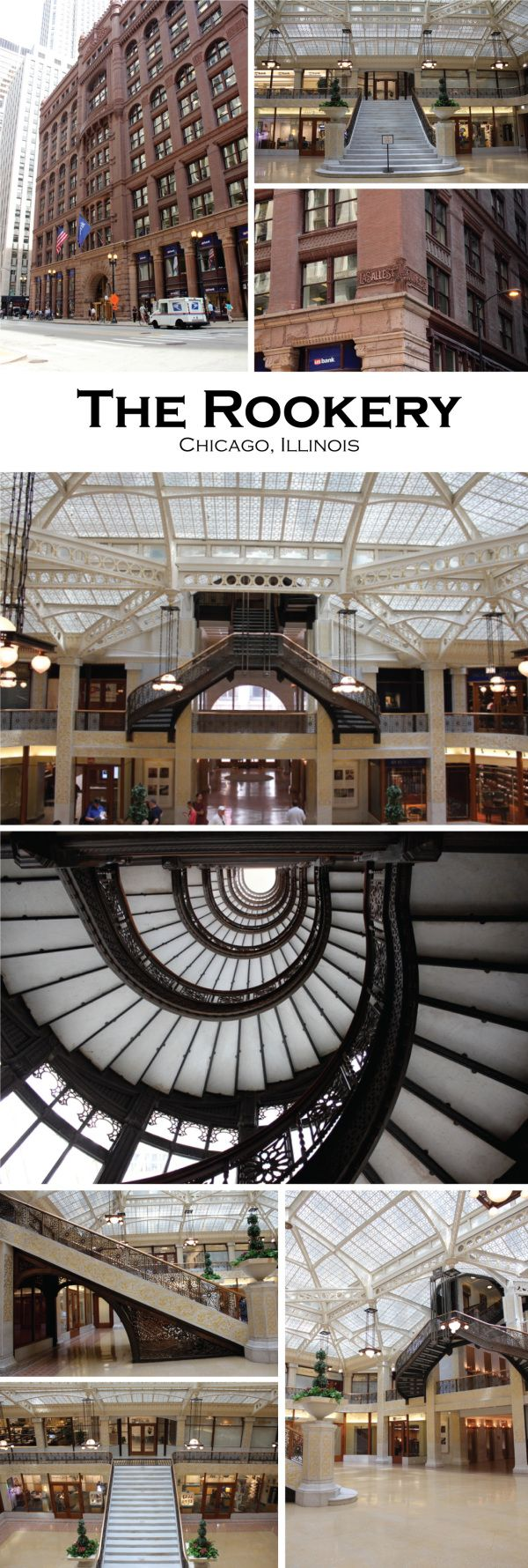 Burnham & Root, The Rookery Building. Frank Lloyd Wright renovated the Light Court in 1905 ( he did not touch the Oriel Staircase, that is Root's original design and installation). The Rookery, Chicago | Redesigned By M