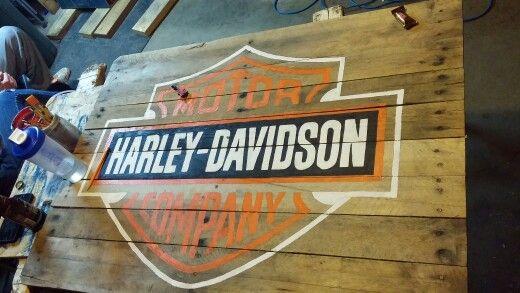 Pallet Flag Harley Davidson