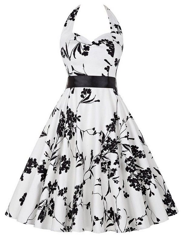 2016 Women's Fashion Bridesmaid Retro 80s Floral Black and white Cocktail Dress Tea Dress Party SALE