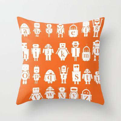 Robot Alphabets in Tangerine Throw Pillow by CreativeNeesh - $20.00