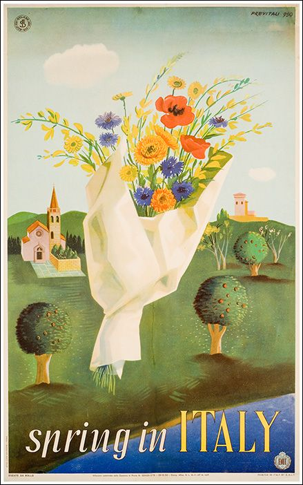 1950 Spring in Italy, vintage travel poster