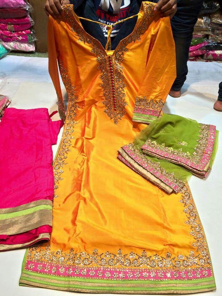 Orange green pink silk suit