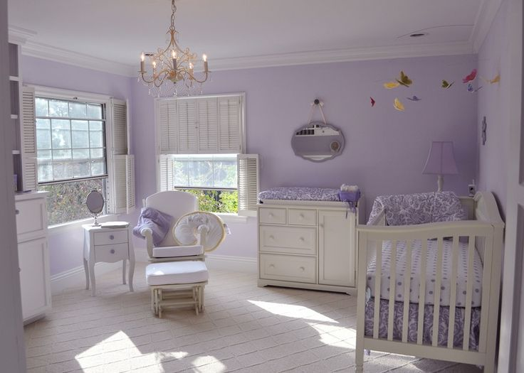 Lovely #lavender #nursery with #damask and other girl touches.
