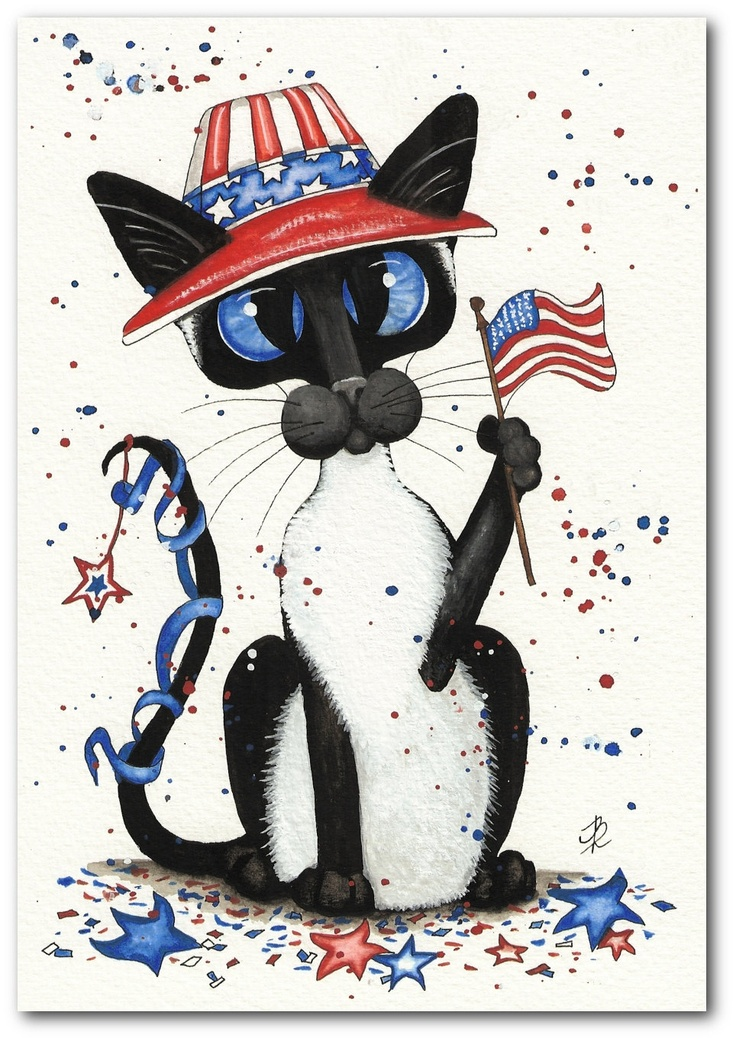 Siamese Cat July 4th Independance Day Pet by DreamCatchingStudio