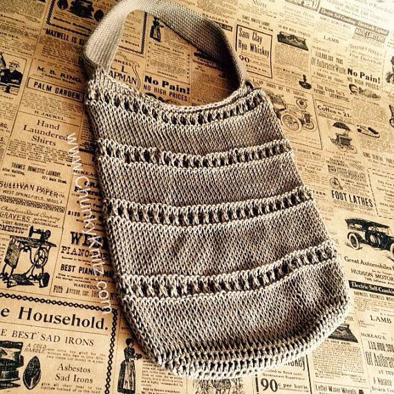 knit market bag  tote bag  reusable bag  eco bag  by ChunkyKnitz