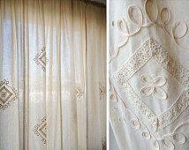 "Finished Burlap Curtain,window blind,cotton window curtain panels-70"" wide-Mediterranean style"