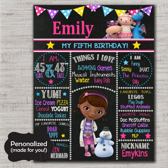 Doc McStuffins Birthday Sign,Doc McStuffins Chalkboard Printable Sign,Any Size,Personalized birthday sign,Birthday party sign,DPP125