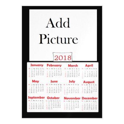 Black 2018 Add Photo Personalized Calendar Magnet - wedding invitations diy cyo special idea personalize card