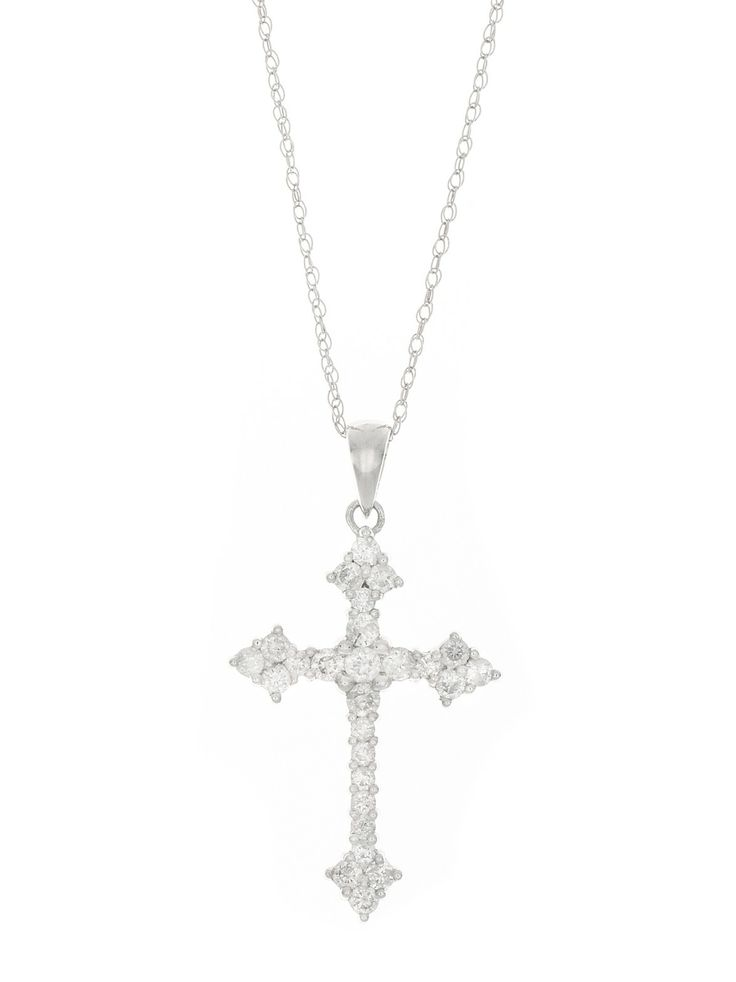 London Collection 14k White Gold Cross Pendant Necklace