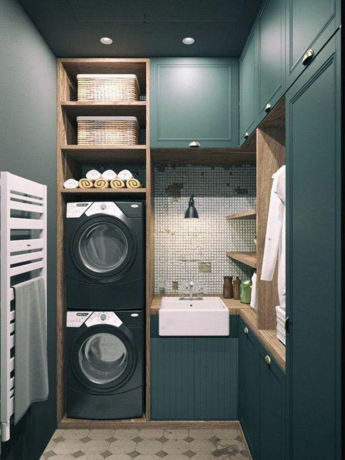 amenagement-lingerie-deux-lave-linge-superposés-couleur-de-chambre-gris-bleu-petites-tuiles-mosaiques