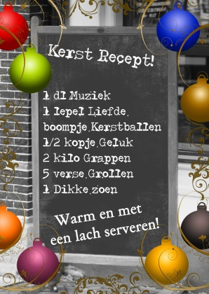 Kerstkaart, ontwerp door  Rien Bijl www.kaartje2go.nl