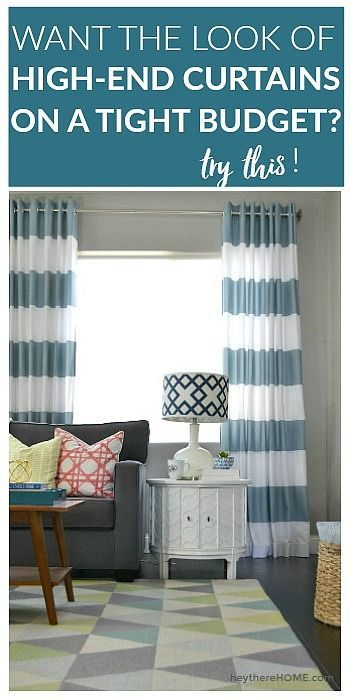 Easy to follow sewing tutorial - how to make grommet top curtains using fabric shower curtains.  via @heytherehome