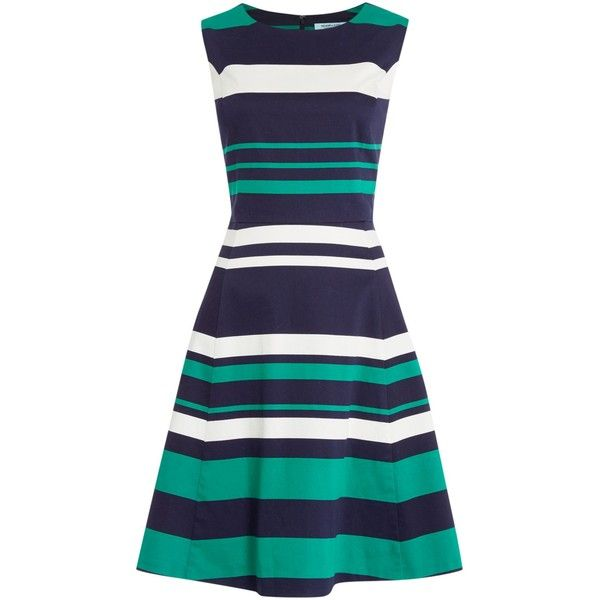Dickins & Jones Stripe Fit and Flare Dress ($125) ❤ liked on Polyvore featuring dresses, women, zipper dress, blue knee length dress, knee-length dresses, sleeveless fit and flare dress and striped cotton dress