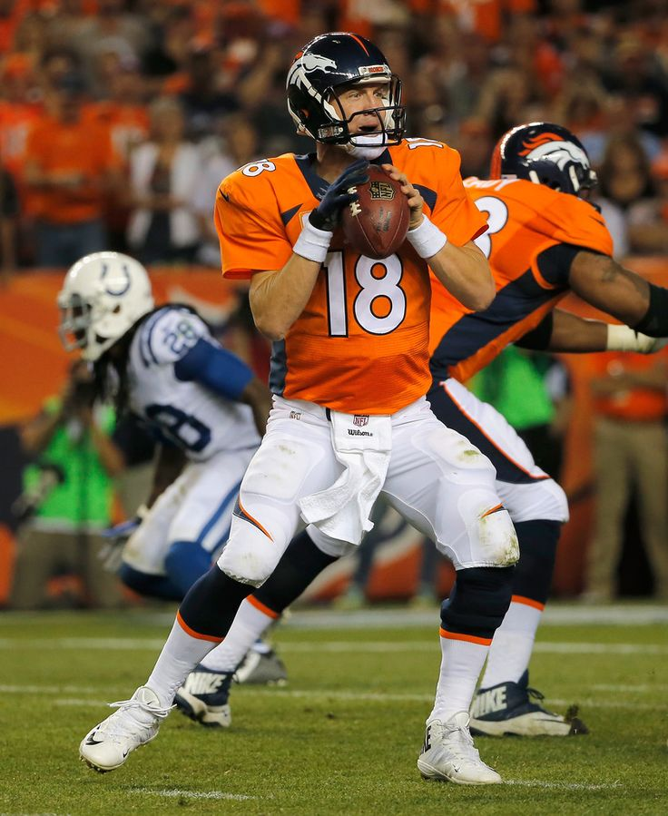 Quarterback Peyton Manning #18 of the Denver Broncos looks for a receiver against the Indianapolis Colts at Sports Authority Field at Mile High on September 7, 2014 in Denver, Colorado. The Broncos defeated the Colts 31-24.