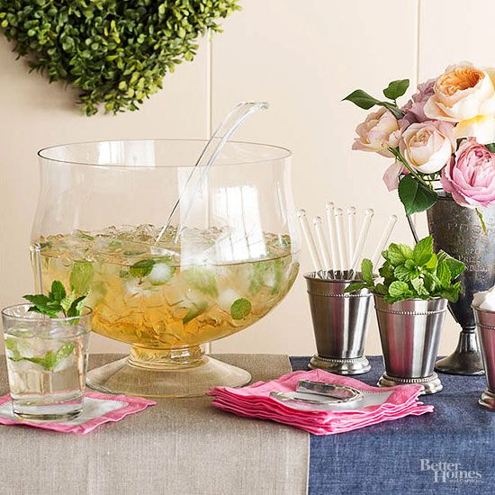 Serve Spiked Punch - Kentucky Derby party BHG Mint Julep: 1 cup bourbon, 2 cups mint simple syrup, 4 cups chilled club soda over ice.