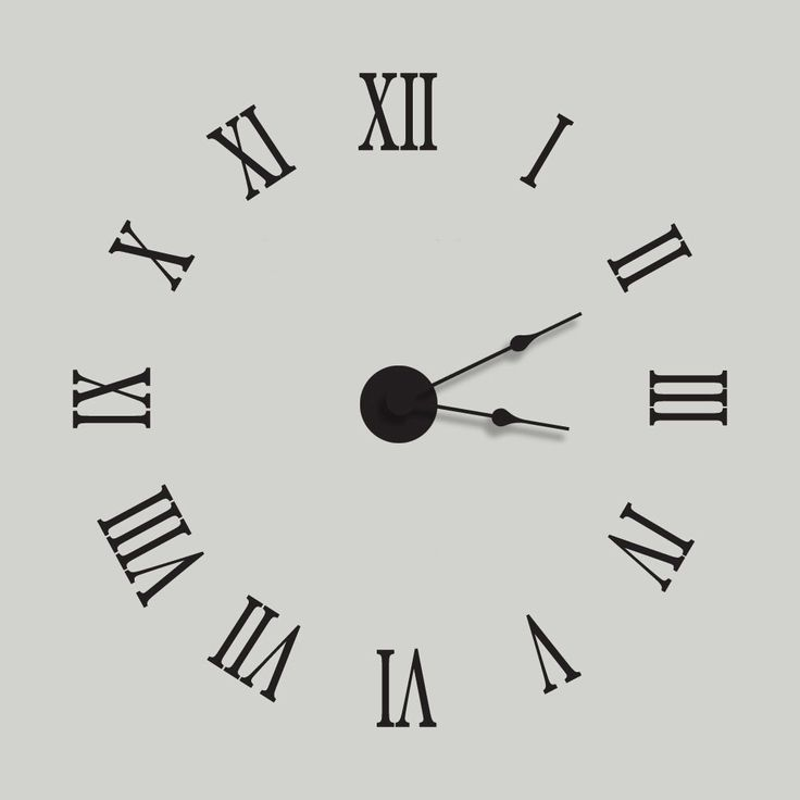 Extra Large Wall Clocks Part - 50: Large Wall Clock Vinyl Wall Decal Clock Kit With Extra Large Roman Numerals  - Complete With