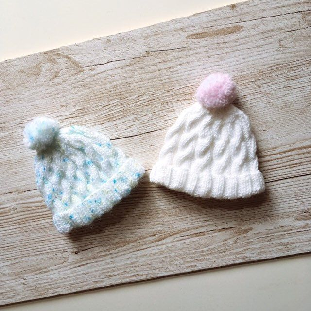 New Hand Knitted Baby Girl Bobble Hats New Born
