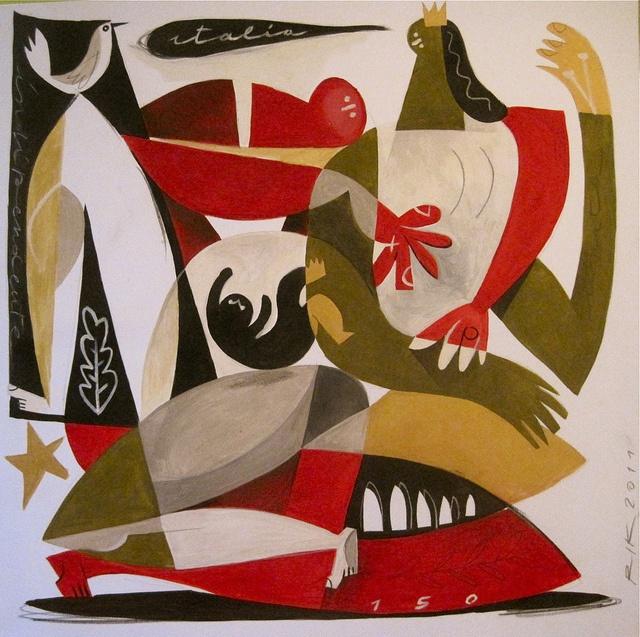 """""""Donna incinta con tricolore e colomba"""" (Pregnant woman with flag and dove) by Riccardo Guasco"""
