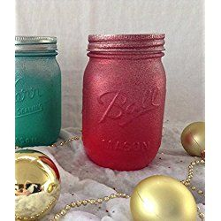 Rustic chic red glitter pint size mason jar Valentines Day, Teacher Gift