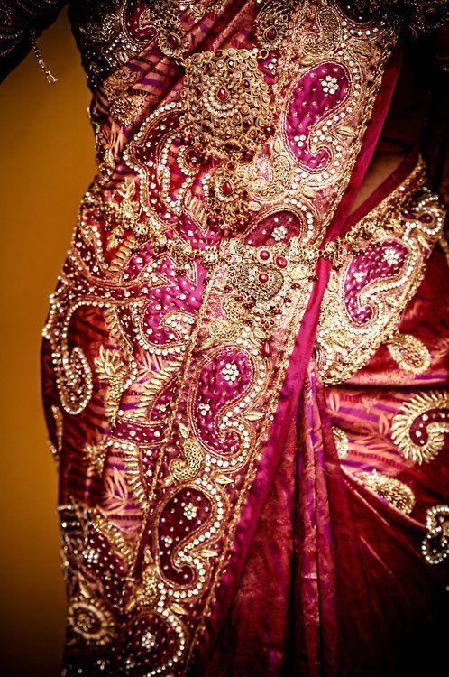 pink Sari beaded detail