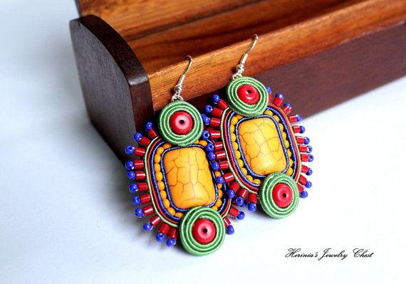 Tribal Earrings Multicolor Soutache by HeriniasJewelryChest, $35.00