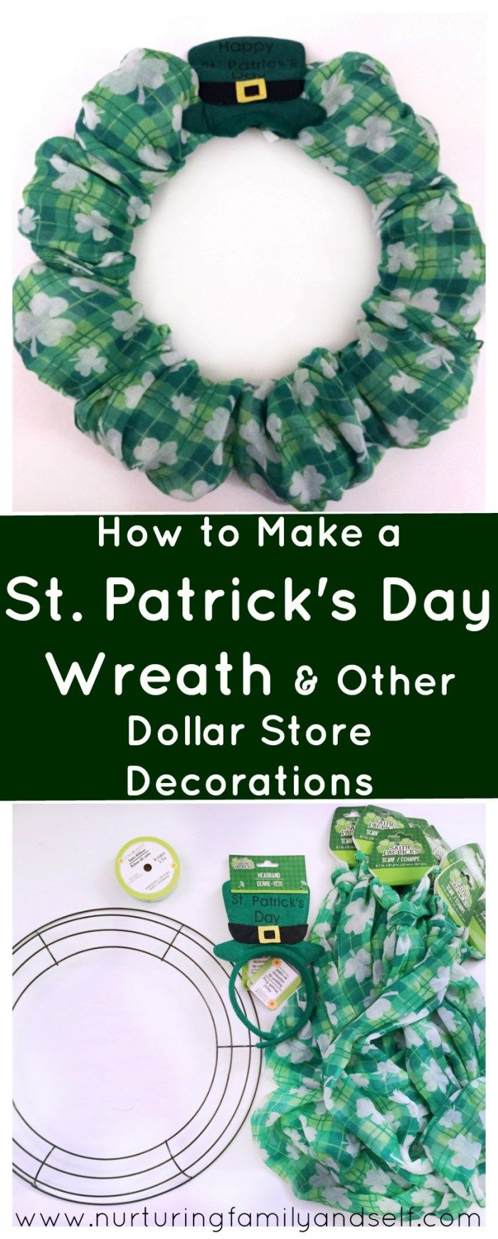 How to Make A St. Patrick's Day Wreath & Other Dollar Store Decorations