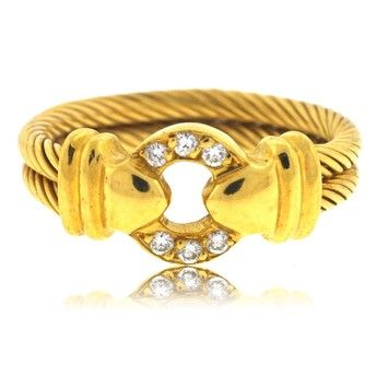 Philippe Charriol 18kt Yellow Gold Diamond Cable Ring