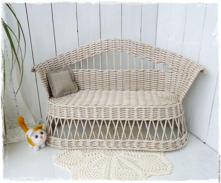 """Купить Диванчик плетеный """"Шебби"""" - бежевый, диван для куклы, плетеный диван, кукольная мебель"""