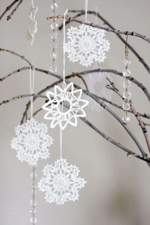 gehaakte sneeuwvlokken prachtig
