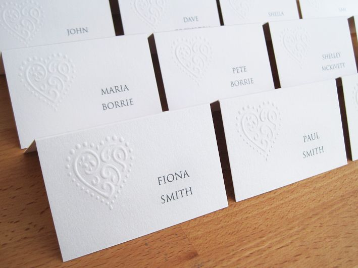 Liberty Place Cards in pearlescent white.