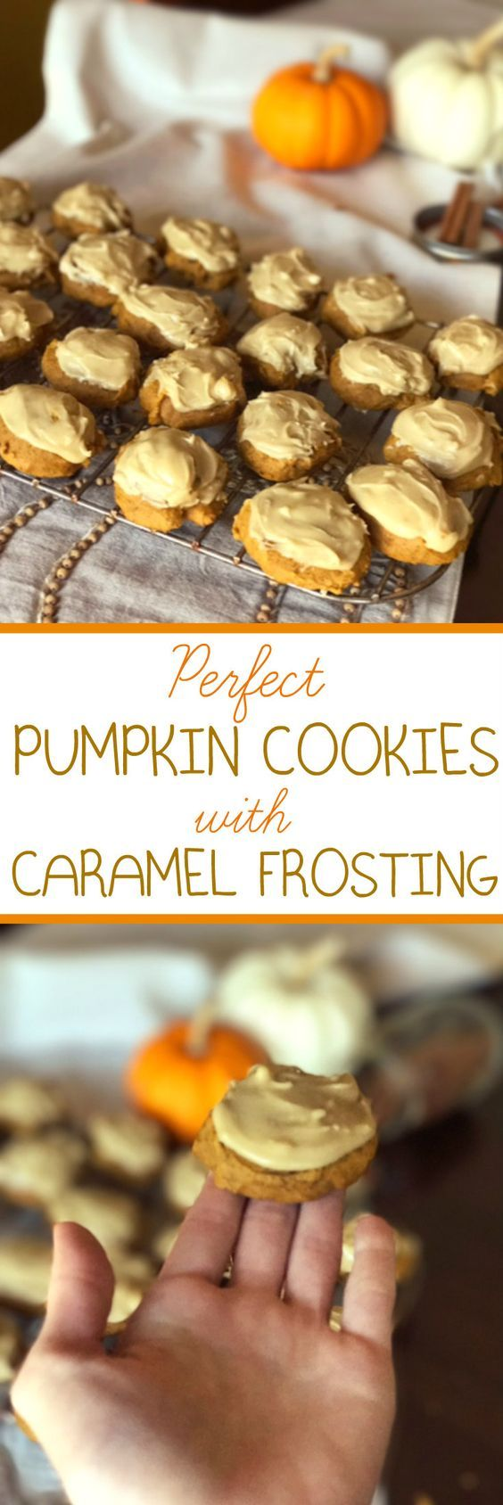 Best recipe for pumpkin cookies with caramel frosting! Easy, fun fall recipe. Soft, chewy cookies with sweet frosting.