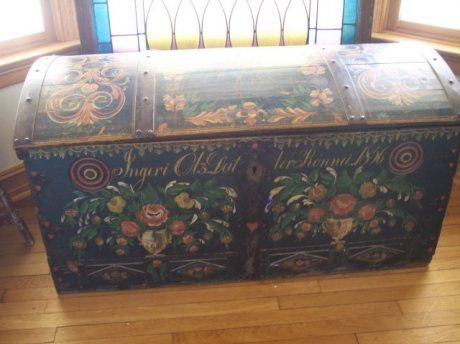 Beautifully rosemaled Norwegian brides dowery trunk from 1856. Finely done and excellent condition.