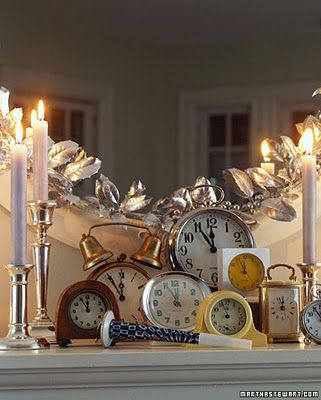 #feelbeautiful  #whbm  Collect an assortment of alarm clocks from family and friends.  Build an interesting arrangement on a table or mantel, and set them all to go off at Midnight.