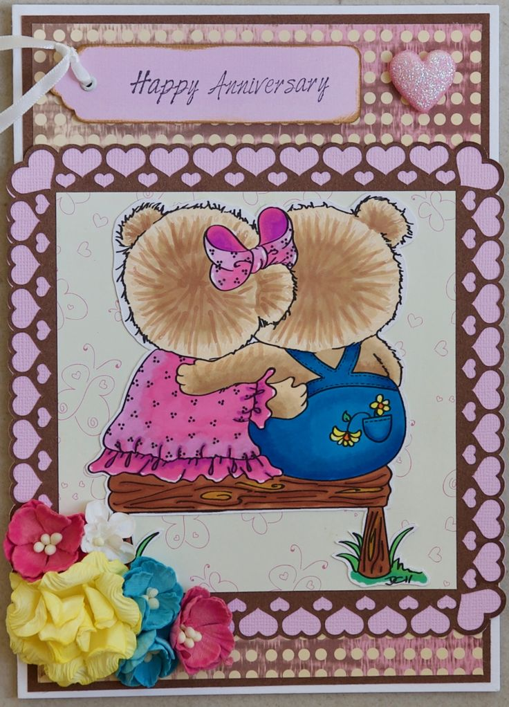Anniversary card 2017: Di's Digi Stamps stamp, called Bench Bears; papers from Wilson & Maclagan; KaiserCraft message stamp; KaiserCraft & Mont Marte flowers; Jolee's glitter heart; Frame cut on the Cameo
