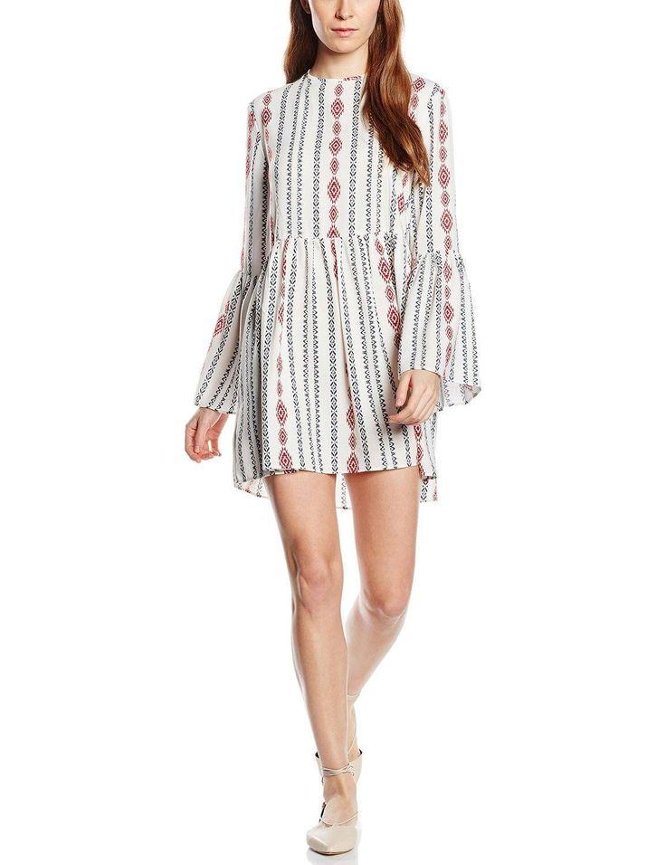 Vestido hipster mujer manga larga con diseño print geométrico y con cuello redondo, es ideal para esta primavera - verano.