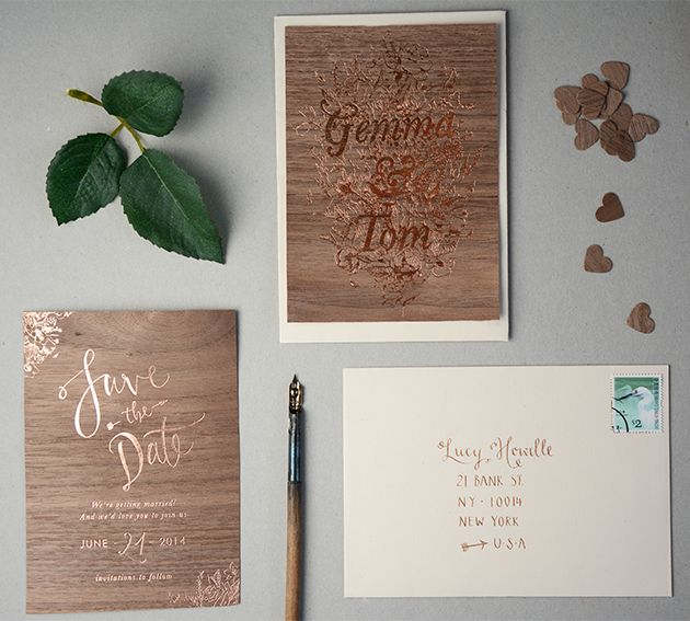 unique copper foil wooden wedding invites by Gemma Milly