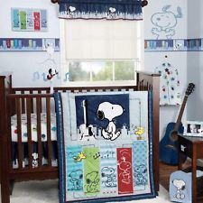 Blue Popular Character Snoopy and Woodstock 3p Baby Boy Nursery Crib Bedding Set