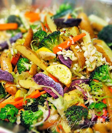 Pasta Smothered with Roasted Vegetables - this is how your meals should be...mostly veggies with a starch or protein as a compliment, not the main event!