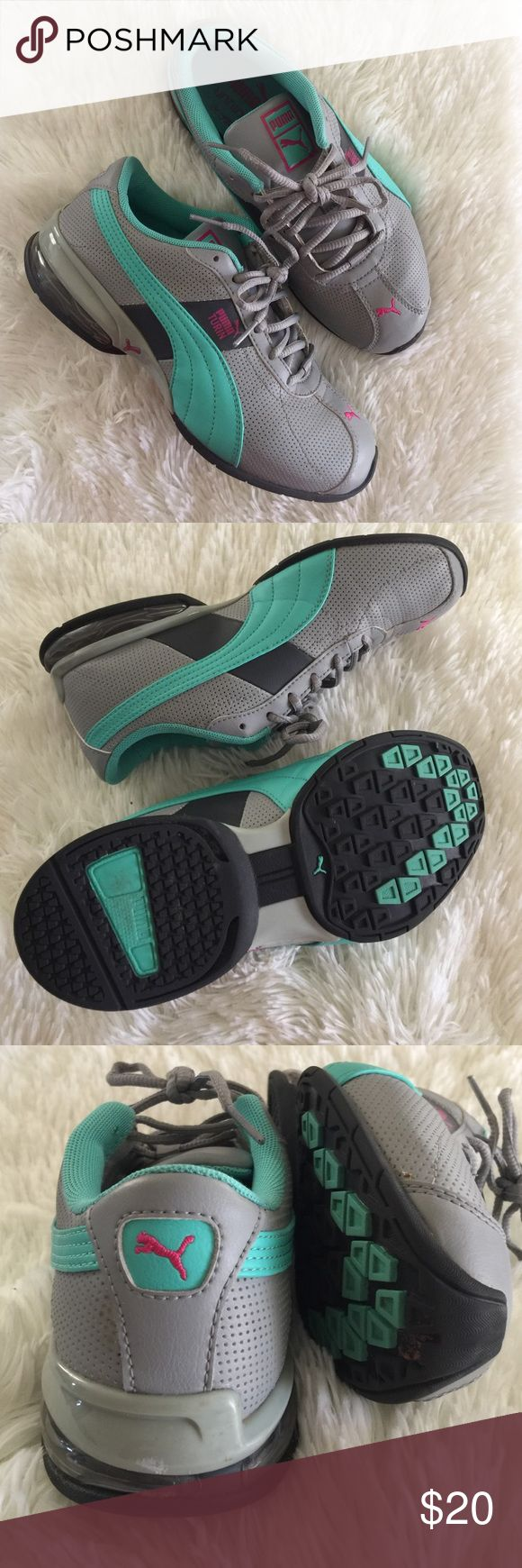 Puma Sneakers Pre-owned Puma sneakers. Size 7 in US woman's size. In good used condition with more life to give. Colors: gray, mint green and pink Puma emblem. Puma Shoes Athletic Shoes