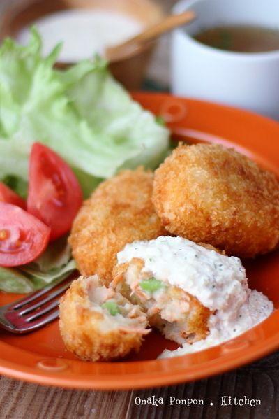 ■サーモンと枝豆のポテトクリームコロッケと、タルタルソース by れっ ...