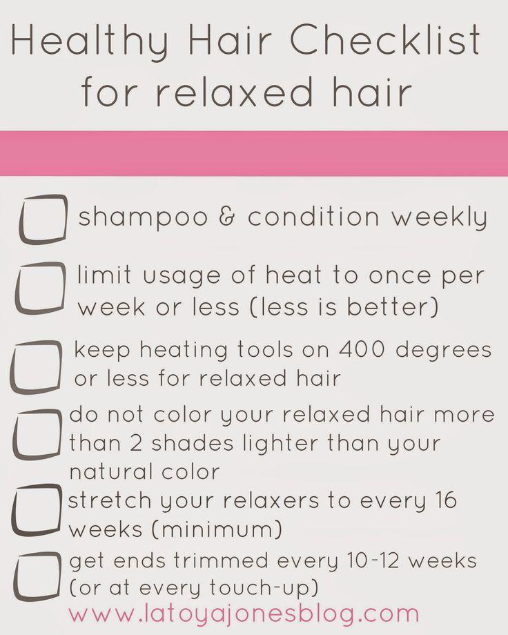 LaToya Jones : Healthy Hair Checklist (for relaxed hair)