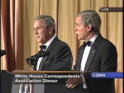 This is what a humble, patriotic, and authentic American president does.... He doesn't need a phalanx of posers and liars to front for him, he just has a good time: with Steve Bridges - As George W. Bush... with George W. Bush!