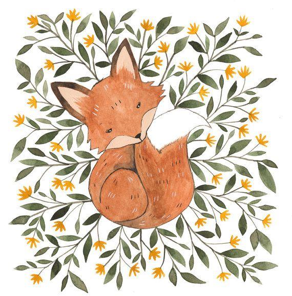 """Cute Fox Art Print 5"""" x 5"""""""