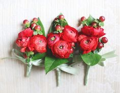 ranunculus, red, boutonniere - just in orange and yellow?