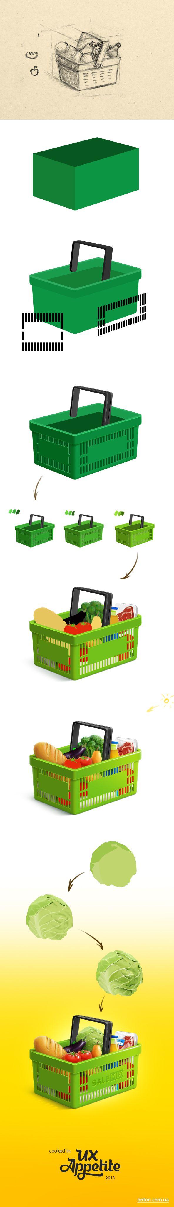 Process of drawing shoping cart for @salemixua  On dribbble: http://dribbble.com/shots/1151397-Shoping-cart  WIP in Behance: http://www.behance.net/wip/194321/373677