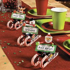 Candy Sled Place Cards -  orientaltrading.com http://www.freefunchristmas.com/